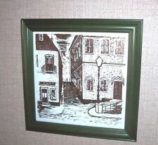 ELEGANT FRAMED TILE WITH EUROPEAN STREET SCENE (PROBABLY ENGRAVED)