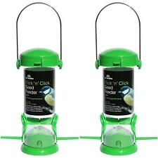 2 x Tom Chambers Flick 'n' Click 2-Port Seed Feeder Birds - Perspex/Easy Filling