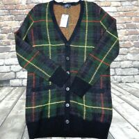 Polo Ralph Lauren Cardigan Green Navy Plaid Small Alpaca Wool Tartan