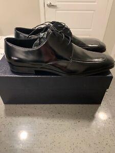 Prada Spazzolato Fume Laceup Nero Dress Shoes US 10