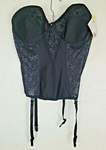NWT Size 40 C Black Lace Nylon Carnival Lingerie Corset Style 423 Bustier Girdle