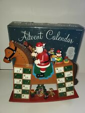 """Costco Wood Advent Calendar w Drawers Rocking Horse Santa Claus 14.5"""" Complete"""
