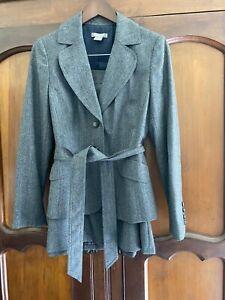 Ann Taylor Gray Wool Suit Set Jacket Sz 4 & Skirt Belted Blazer 2 Piece Busin