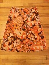 Escada Orange/Brown Print Silk Skirt, Size 10 (US) 42 (EU), NWT! $700