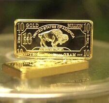 10 GRAM 100 MILLLS GOLD BUFFALO BULLION BARS .999 FINE 24K BULLION