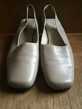 Softspots Nude Beige Leather Sling Back Women's Shoes Size 8 1/2 W Closed Toe