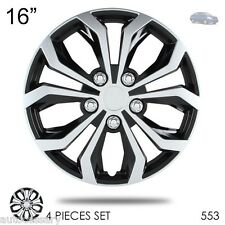 "New 16"" Hubcaps Spyder Performance Black and Silver Wheel Covers For Nissan 553"