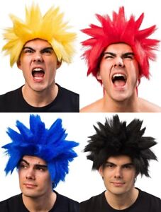Men's Red Blue Yellow Black Anime Cartoon Spiked Fancy Dress Costume Outfit Wig