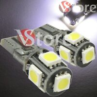 2 Veilleuses LED T10 ampoules 5 smd 5050 Canbus 5W BLANC ANTI ERREUR Lampe Xenon