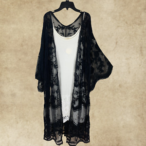 PLUS BOHO BLACK LACE EMBROIDERED 3/4 SLEEVES KIMONO CARDIGAN DUSTER ONE SIZE