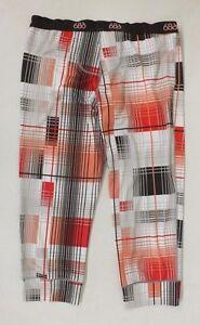 686 Performance Dry Orange & Brown Plaid Base Layer Pants Women's Medium NEW