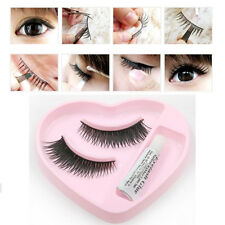1 Pair Natural Long Thick False Eyelashes Eye Lashes Extensions with Glue Makeup