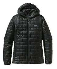 Women Patagonia Nano Puff Puffer Hoody Hood Jacket Coat Full Zip Sweater L Black