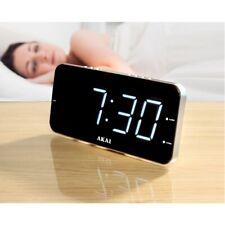 AKAI Radio & Digital Alarm Clock Jumbo White LED Display Slim 2-IN-1 Table Gift