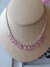 Suzanne Somers Clear And Pink Briolette Cz 925 Sterling Silver Necklace Wedding