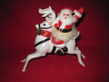 "Vintage retro hard plastic Santa on reindeer Chrismas decoration 7"" long"