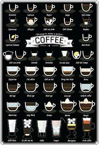 Perfect Coffee Kaffee Variationen Blechschild Schild Tin Sign 20 x 30 cm FA0212