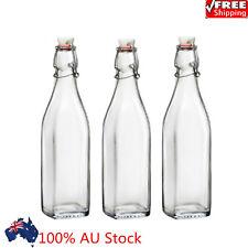 Swing Top Grolsch Glass Bottles 16oz CLear For Brewing KombuchaKefir Beer Gasket