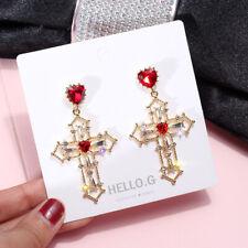 Boucles d/'Oreilles Clips Grosse Croix Rouge Email Extravagant Soirée Mariage X2