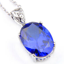 Great Oval Cut Dark Swiss Blue Topaz Gemstone Platinum Plated Necklace Pendants
