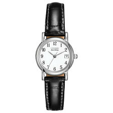 Citizen Eco-Drive Women's Black Leather Date Indicator 23mm Watch EW1270-06A