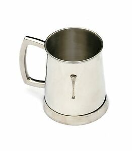 Straight Horn Tankard 1 Pint Metal Drinking Mug Present Fox Hunting Gift