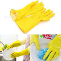 Lot of 4 Packs Dish Washing Latex Gloves LARGE Size Yellow Pairs Packages