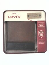 LEVI'S Bifold Wallet Brown/Black Leather w RFID Protection Mens $49.50 New