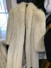 Lux Ivory Women's Long Sleeve White Fox Fur Coat