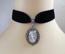 Gothic Black Velvet Choker/Necklace Supernatural Spirit/Ouija Board Cabochon UK