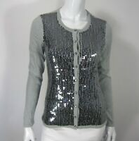 Saks Fifth Avenue Long Sleeve Crew Neck Cardigan Sweater Size S Sequins Gray 119