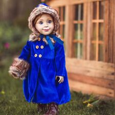 18in Doll Clothes & Accessories BLUE VELVET COAT, HAT, MUFF Fits American Girl