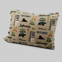 LAKE FISH BEAR DOG GREEN FLEECE SHEET SET FLAT FITTED PILLOWCASE QUEEN FULL TWIN