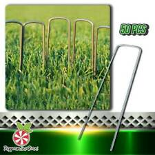 Garden Pegs Stakes Staples Securing Lawn U Shaped Nail Pins - Pack of 50🔥