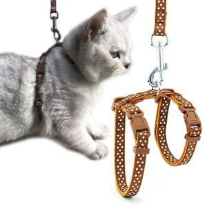 Cat Dog Collar Leash Set Kitten Halter Reflective Collar Pet Harness and Leashes