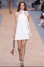 New! $1695 Chloé Textured Crêpe Tie Neck Halter Dress Milk, 36
