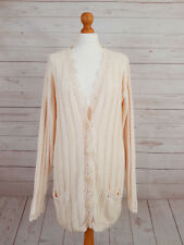 Marks & Spencer St Michael M&S Women's Nude Cable Knit Buttoned Cardigan UK 12