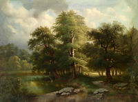 Oil painting summer landscape with wild animal deer in forest by the river