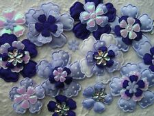 60 fabric FLOWERS FFE38LP Lavender Purple Mix for Hair Accessories, Scrapbooking