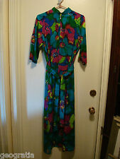 Vintage 1960'S 1970'S Jane Kinley Floral Dyed Maxi Dress