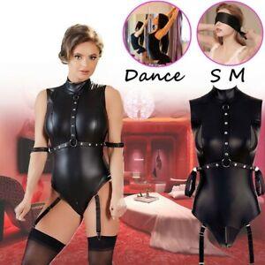 SM Cosplay Damen Leder PVC Clubwear Latex Leder Collant Gr.S