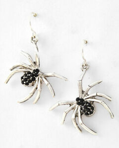 SILVER SPIDER DANGLE EARRINGS WITH BLACK RHINESTONES   HALLOWEEN