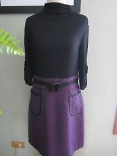 Phoebe Couture Purple Black Turtle Neck Dress Size 8