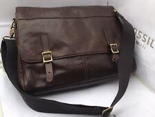 BNWT Fossil Defender Leather Messenger Bag Dark Brown