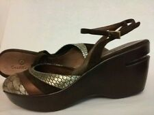 Cole Haan Wedge Sandal Animal Print Platform Brown Metallic Ankle Strap Size 7 B