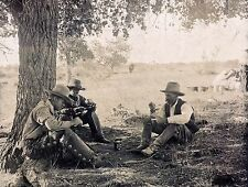 """1908 Photo, Cowboys in the Shade eating, Chaps, hats, antique view, 20""""x16"""""""