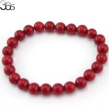 8mm Round Mixed Gemstone Genuine Coral Beads Stretchy Jewelry Bracelet