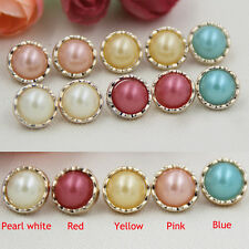 20/50pcs Round Resin Buttons Pearl Gold Edge Sewing DIY Craft Accessories 13mm