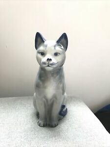 Grey And Blue Ceramic Cat Ornament 9.5 Inches High