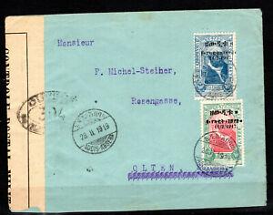 ETHIOPIA 1919 CENSORED COVER ADDISA ABEBA TO OLTEN SWITZERLAND
